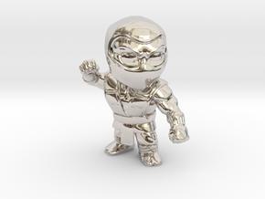 Ninja-Small in Rhodium Plated Brass