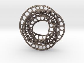 3 quarter twist Möbius strip in Polished Bronzed Silver Steel