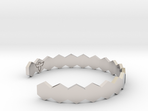 Geometric Hex Bracelet S-XL in Rhodium Plated Brass: Small