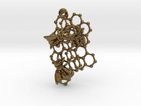 Honeycomb Earrings in Polished Bronze
