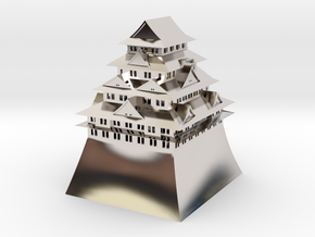 Nagoya Castle in Rhodium Plated Brass