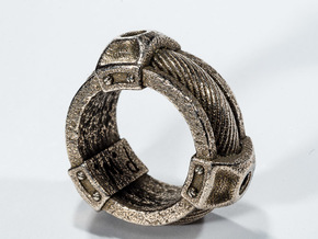 Cable Ring in Polished Bronzed Silver Steel