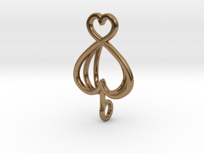 Heart As Open Book Pendant in Natural Brass