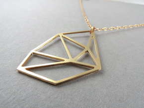 Bent Hex Droplet Necklace in 14k Gold Plated Brass