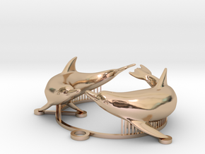 dolphin medal in 14k Rose Gold: Small