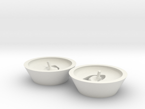 Binaural Ear Mould in White Natural Versatile Plastic