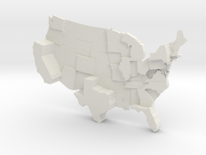 USA by Population in White Natural Versatile Plastic