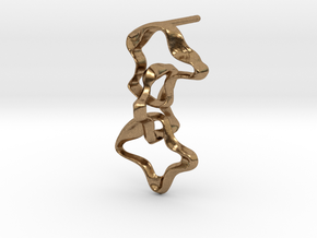 Mind generated earring - my idea against racism in Natural Brass (Interlocking Parts)