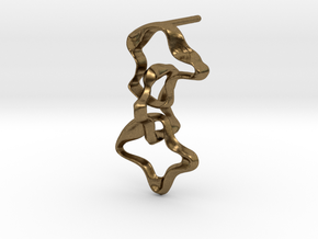 Mind generated earring - my idea against racism in Natural Bronze (Interlocking Parts)