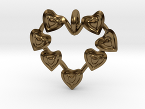 Valentine's hearties Pendant in Polished Bronze