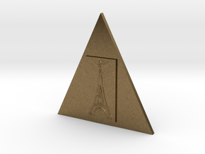 Eiffel Tower In A Triangle Button in Natural Bronze