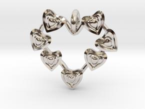 Valentine's hearties Pendant in Rhodium Plated Brass