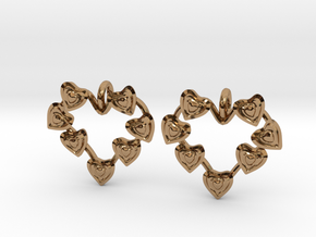 Valentine's hearties earrings in Polished Brass