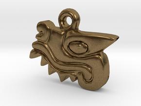 Aztec Crocodile Pendant in Natural Bronze