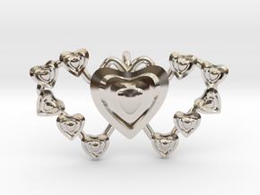 Valentine's 2 hearts Pendant in Rhodium Plated Brass