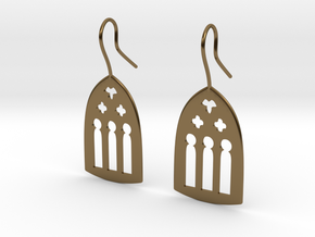 Cathedral Earrings in Polished Bronze: Large
