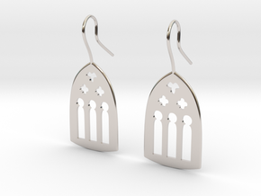 Cathedral Earrings in Rhodium Plated Brass: Large