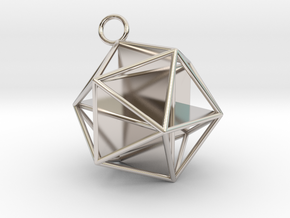 Golden Icosahedron Pendant in Rhodium Plated Brass