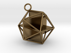 Golden Icosahedron Pendant in Natural Bronze
