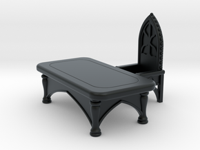 Gothic Desk with Chair. Set 1 in Black Hi-Def Acrylate
