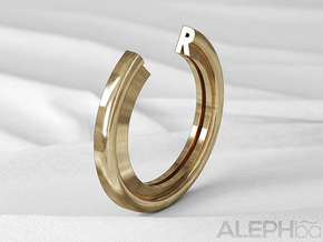 R Ring in Natural Bronze: 6 / 51.5