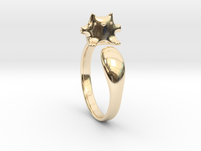 Cat Ring 1 in 14k Gold Plated Brass: Large