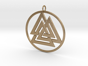 Odin valknut in Polished Gold Steel
