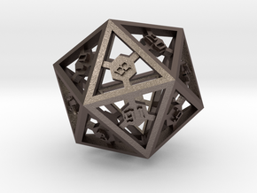 D20 Epoxy Dice large edition in Polished Bronzed Silver Steel