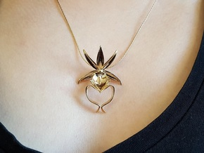 Ghost Orchid Pendant in Polished Bronze