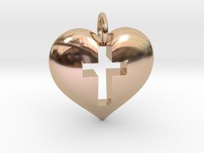 Cross Heart in 14k Rose Gold
