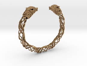 Viking wolf head bracelet size L in Natural Brass: Large