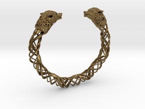 Viking wolf head bracelet size M in Natural Bronze