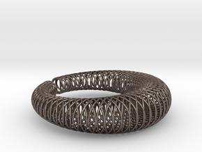 Bracelet 'Wire pattern' in Polished Bronzed Silver Steel