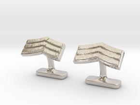 Mens sergeant 3 stripe cufflinks in Rhodium Plated Brass