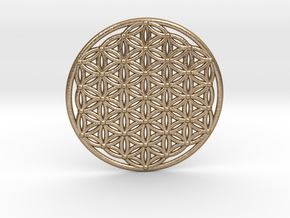 Flower Of Life - Large in Polished Gold Steel