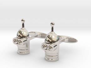 Fixed Bender's Cufflinks. Futurama fan art in Rhodium Plated Brass
