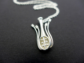 Floral Anatomy Pendant - Science Jewelry in Polished Silver