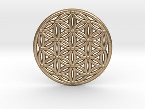 Flower Of Life - Medium in Polished Gold Steel