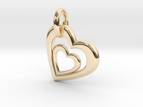 Heart in Heart Pendant 2 in 14k Gold Plated Brass