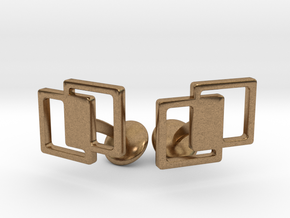 Interlocking Cufflinks in Natural Brass