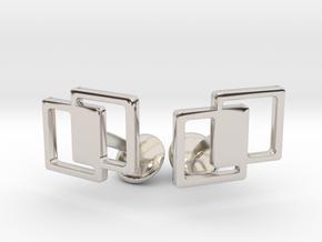 Interlocking Cufflinks in Rhodium Plated Brass