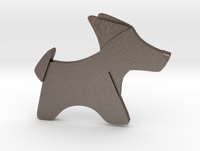 Origami Dog pendant in Polished Bronzed Silver Steel