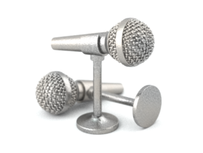 Microphone Cufflinks in Polished Bronzed Silver Steel