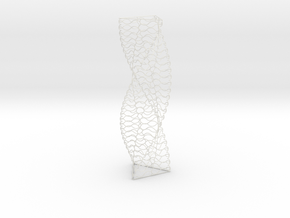 Curved Wire Spiral Triangle Shape L in White Natural Versatile Plastic