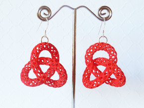Trefoil -- Plastic 3D printed earrings in Red Strong & Flexible Polished