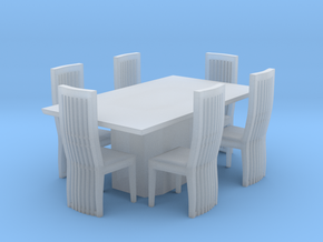Marble Style Table And Chairs Scaled in Smooth Fine Detail Plastic: 1:48 - O