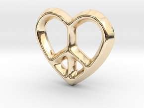 Peace Love Charm - 11mm in 14K Yellow Gold