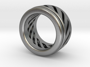 Simple - Fidget (Spin) Ring in Interlocking Raw Silver: 3 / 44