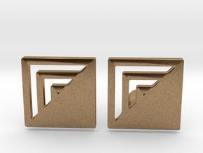 Square Designer Cufflinks in Natural Brass