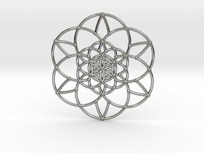Fractal Flower of life  in Polished Silver
